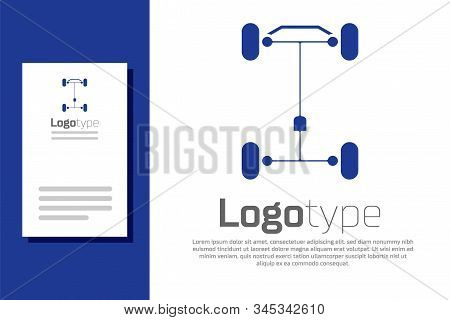 Blue Chassis car icon isolated on white background. Logo design template element. Vector Illustration poster