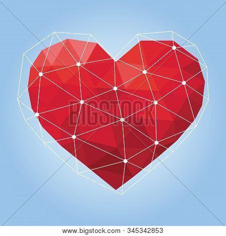 Vector Illustration Of Red Geometric Polygonal Heart