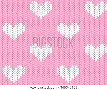 Vector Knitting Seamless Background With Little Hearts