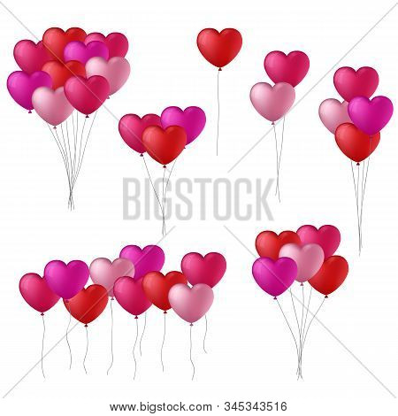 Vector Collection Of Red And Pink Heart Balloons
