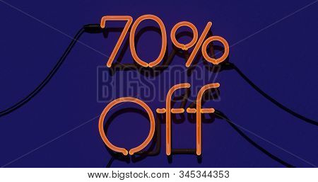 70 Percent Discount 3d Sign On In Blue Background, Special Offer 70% Neon, Sale Up To 70 Percent Off