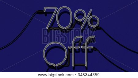 70 Percent Discount 3d Sign Off In Blue Background, Special Offer 70% Neon, Sale Up To 70 Percent Of