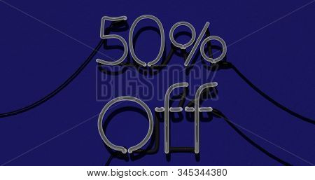 50 Percent Discount 3d Sign Off In Blue Background, Special Offer 50% Neon, Sale Up To 50 Percent Of