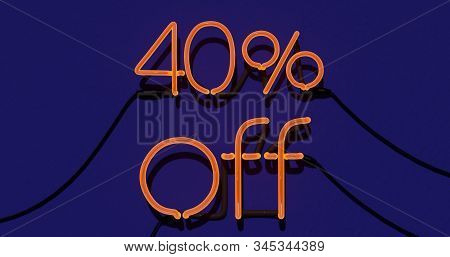 40 Percent Discount 3d Sign On In Blue Background, Special Offer 40% Neon, Sale Up To 40 Percent Off