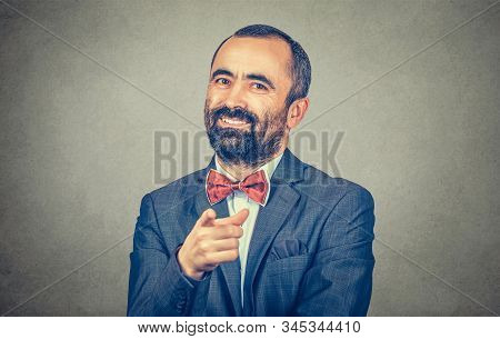 Horizontal Portrait Of A Young Smiling Man Pointing His Finger At You, It Is You, You Chosen Hand Ge