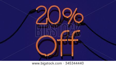 20 Percent Discount 3d Sign On In Blue Background, Special Offer 20% Neon, Sale Up To 20 Percent Off