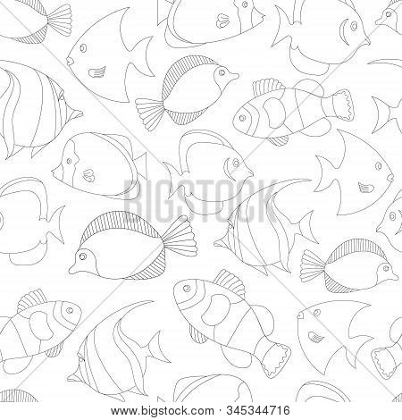 Seamless Pattern With Black And White Tropical Fish. Exotic Fish. Coloring Book Page For Adult And C
