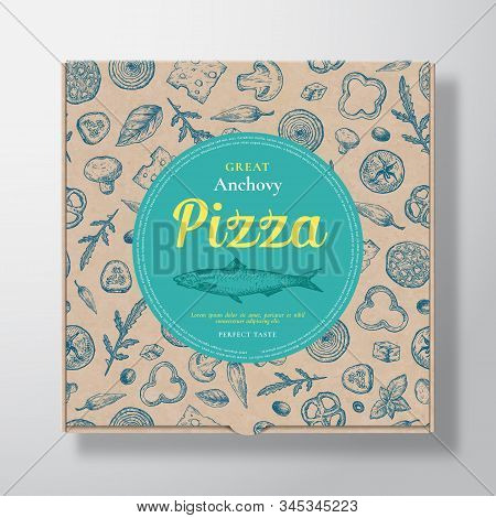 Anchovy Fish Pizza Realistic Cardboard Box. Abstract Vector Packaging Design Or Label. Modern Typogr