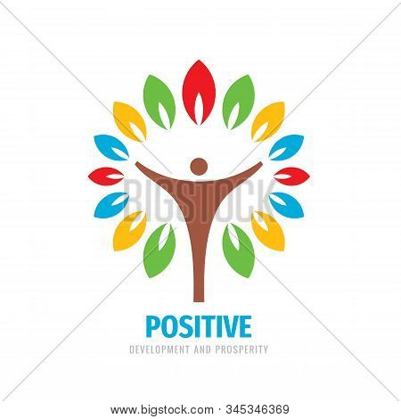 Nature Vector Logo Design. Tree With Colored Leaves Sign. Positive - Development And Prosperity. Pos