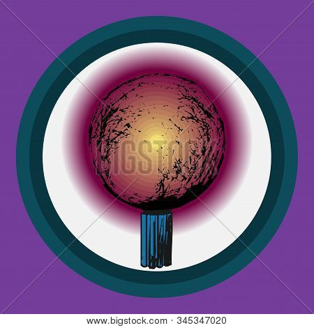 An Isolated Fortuneteller On A White Background. Magical Light Bulb Drawn By Hand. Can Be Used As A