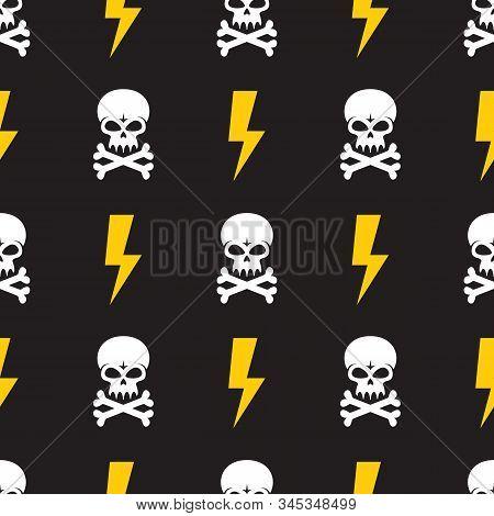 Human Skull And Lightning On Black Background - Seamless Vector Pattern. Design Element. Danger Vect