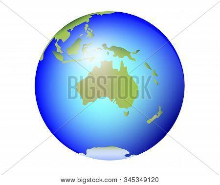 Australia, New Zealand, Tasmania On The Planet Earth. Globe With Continent Australia And Oceania - F