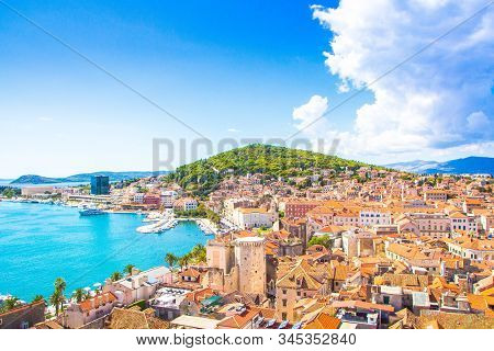 Split, Croatia. View On Split Town And Marjan Hill, Warm Summer Sunny Day.