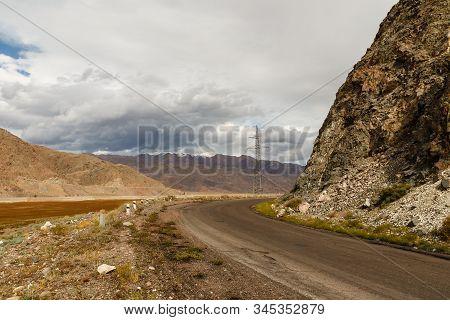 Mountain Road Along The Chu River, Kyrgyzstan, Kochkor District