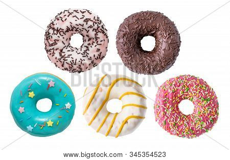 Set Of Various Colorful Donuts Isolated On White Background.