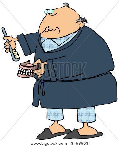 Man Brushing His False Teeth