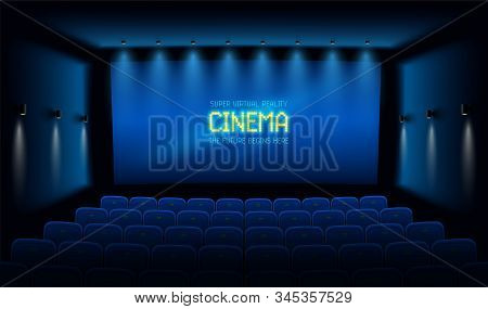Empty Movie Theatre. Dark Cinema Hall With With Blue Screen. Modern Movies Theater For Festivals And