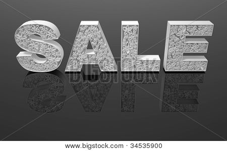 "The word ""sale"" is made with white forms with abstract flowers."
