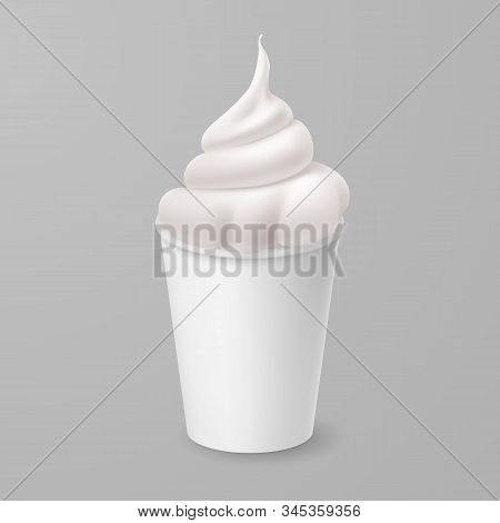 Whipped Vanilla Frozen Yogurt Or Soft Ice Cream In White Cardboard Cup. Isolated Illustration On Gra