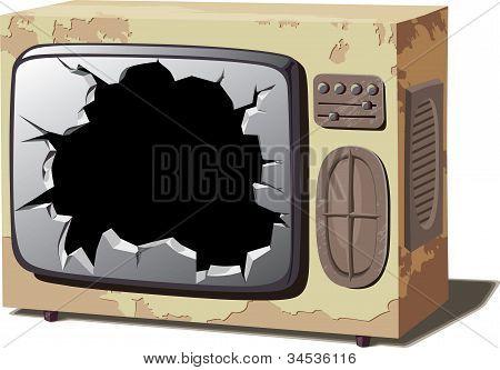 Old broken TV set