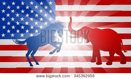 A Donkey Or Jackass And Elephant Silhouettes With An American Flag In The Background. Mascot Animals