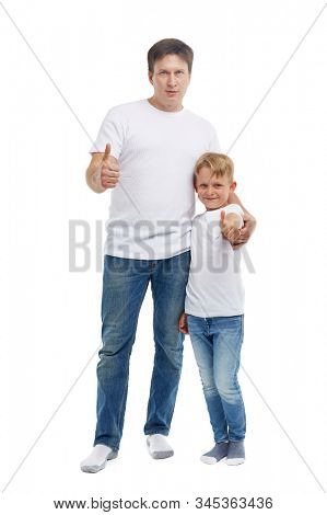 Friendly family. Young man with child stands isolated on a white background. Happy parent. Father with son. Concept of people and family