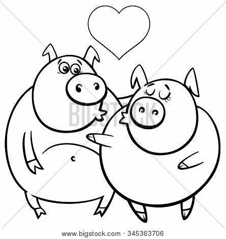Black And White Valentines Day Greeting Card Cartoon Illustration With Pig Characters In Love Colori