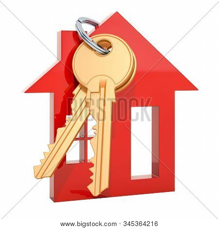 House Keys With Trinket Home Isolated On White. 3d Rendering Isolated On White Background
