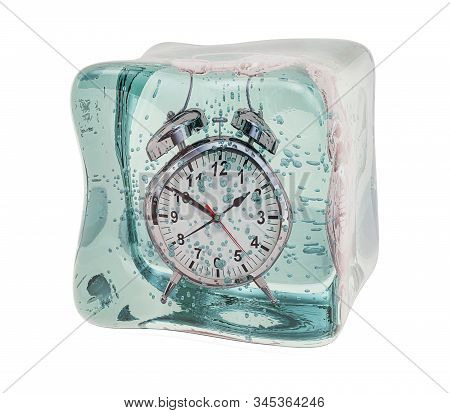 Alarm Clock Frozen In Ice Cube. Freeze Time Concept, 3d Rendering Isolated On White Background
