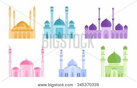 Set Of Colorful Mosque Islamic Holiest Worship Buildings. Vector Illustration In Flat Cartoon Style.