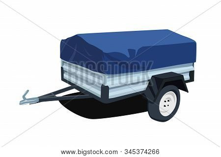Utility Trailer Realistic Vector Illustration Isolated No Background