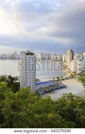 Sao Vicente - Sp, Brazil - November 21, 2019: View Of The Buildings And Beaches Of Sao Vicente City,