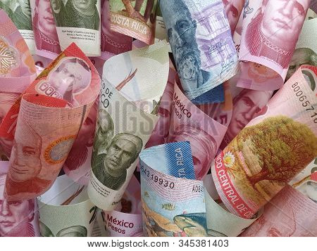 Approach To Costa Rican Banknotes And Mexican Money