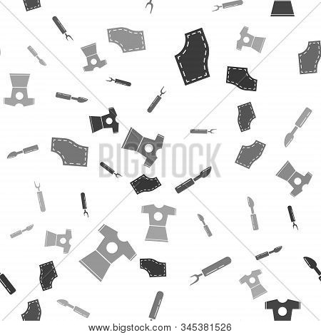 Set Sewing Pattern, Cutter Tool, Cutter Tool And Woman Dress On Seamless Pattern. Vector