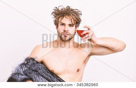 Rich Athlete Enjoy His Life. Richness And Luxury Concept. Sexy Sleepy Rich Macho Tousled Hair Drink