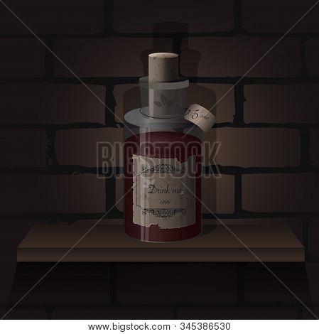 Realistic Medieval Bottle. Vector Alchemy Bottle With Medicine. Wizardry Elixir Liquids With Strange