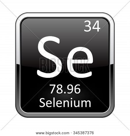 Selenium Symbol.chemical Element Of The Periodic Table On A Glossy Black Background In A Silver Fram