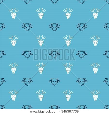 Set Deer Antlers On Shield And Deer Head With Antlers On Seamless Pattern. Vector