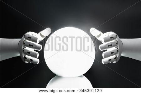 Robot Predicting Future With Crystal Ball