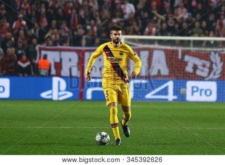 Prague, Czechia - October 23, 2019: Gerard Pique Of Barcelona Controls A Ball During The Uefa Champi