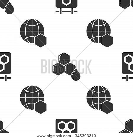 Set Hanging Sign With Honeycomb, Honeycomb And Honeycomb Map Of The World On Seamless Pattern. Vecto