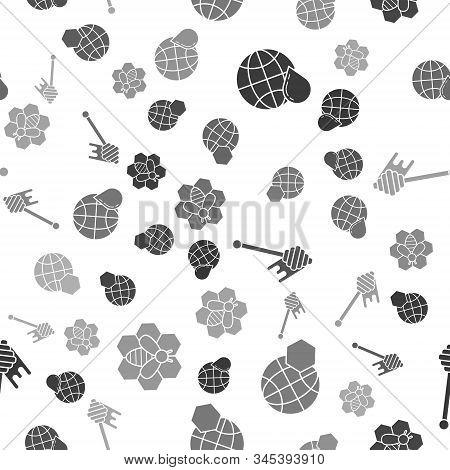Set Honeycomb Map Of The World, Honeycomb Map Of The World, Honey Dipper Stick With Dripping Honey A