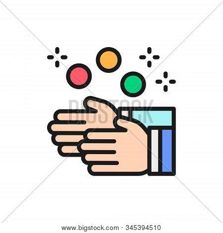 Vector Juggling Balls, Juggler, Circus Flat Color Line Icon.