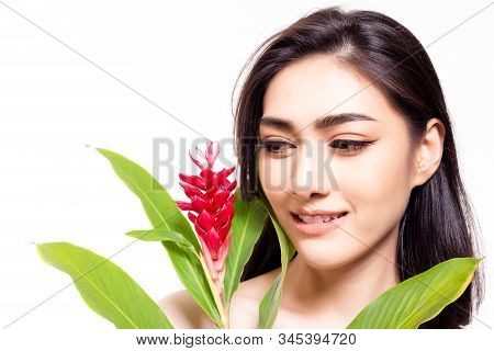 Portrait Natural Beauty Asian Woman. Attractive Beautiful Young Lady Look At Flower Her Face Skin Be