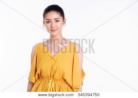 Portrait Charming Beautiful Young Asian Woman. Attractive Beautiful Young Lady Has Nice Skin And Bea