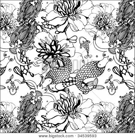 black and white seamless background with mermaids, flowers and fish