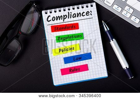 Compliance Concept, Components Of Compliance Policies At Notepad At Office Workplace