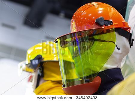 Mannequin With A Safety Glass And Helmet  And Blue Uniform ; Working Hard Hat;personal Protection Eq