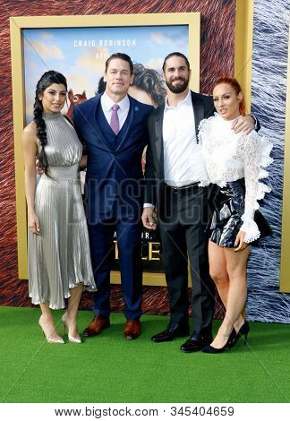 John Cena, Shay Shariatzadeh, Becky Lynch and Seth Rollins at the Los Angeles premiere of 'Dolittle' held at the Regency Village Theatre in Westwood, USA on January 11, 2020.