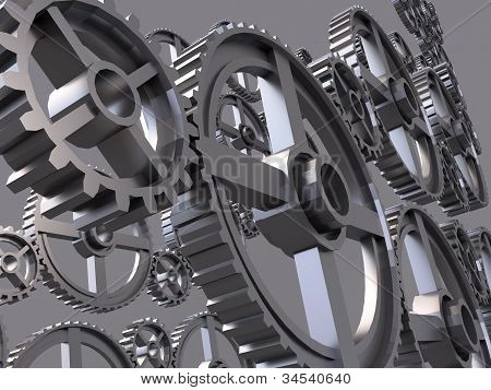 Pinion gear close-up on a gray background poster